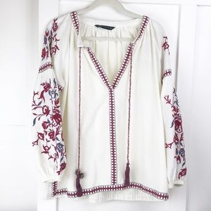 Zara Woman embroidered peasant top S